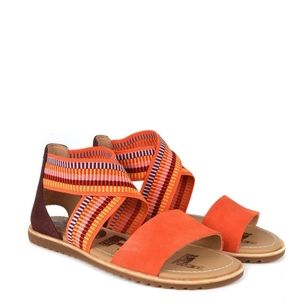 Sorel Ella Sandals Orange Leather Suede Shoes 8.5